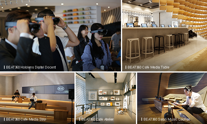 BEAT360 Hololens Digitel Docent / BEAT360 Cafe Media Table / BEAT360 Cafe Media Strip / BEAT360 Cafe Atelier / BEAT360 Salon Music Lounge