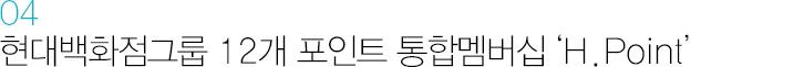04 현대백화점그룹 12개 포인트 통합멤버십 'H.Point'